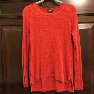 Roots light knit cotton sweater in coral, medium